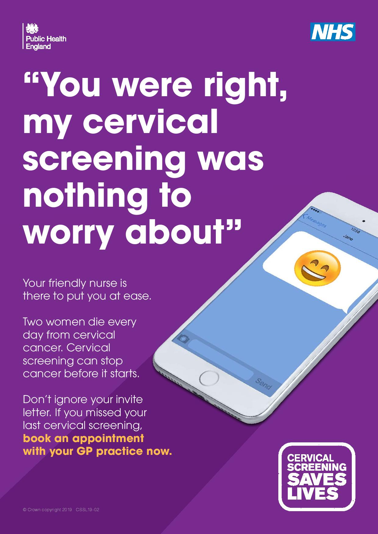 You were right my cervical screening was nothing to worry about Cervical screening saves lives